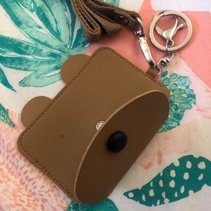 Bear wallet with keychain and lanyard